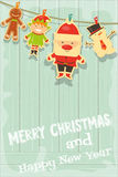 Card with Christmas characters Stock Photography