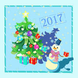 Card Christmas decorations, Christmas tree, gifts, snowman in a. Blue frame vector illustration Royalty Free Stock Photography