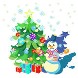 Card Christmas decorations, Christmas tree, gifts, snowman. Vector illustration Royalty Free Stock Photos
