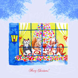 Card with Christmas Eve, a dog and a cat Royalty Free Stock Photo
