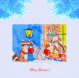 Card Christmas Eve with raccoon, squirrel and dog Stock Photo
