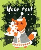 card christmas fox Στοκ φωτογραφία με δικαίωμα ελεύθερης χρήσης