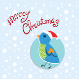 Card Christmas and New Year with colorful bird Stock Photo