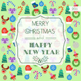 Card for Christmas and New Year. Typography. Flat design.  Stock Image