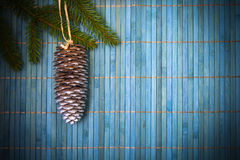 Card Christmas pine spruce twig blue background Stock Image