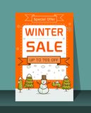 Winter Sale banner Vector illustration. Card Christmas sale discounts. Festive advertising banner with fun New Year characters and symbols.Winter Sale banner Royalty Free Stock Images
