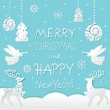 Christmas and New Year card with holiday symbols vector illustration