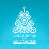 Card with Christmas tree. Beautiful New year card with Christmas tree and snowflakes and place for text on the background of an abstract pattern Royalty Free Stock Images