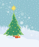 Card with Christmas tree Royalty Free Stock Photo