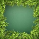 Card with Christmas tree border, realistic fir-tree branches frame on green background. EPS 10 vector illustration