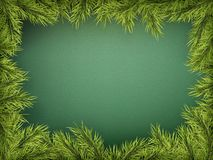 Card with Christmas tree border, realistic fir-tree branches frame on green background. EPS 10 royalty free illustration