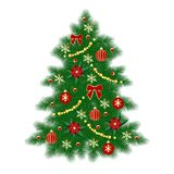 Card with Christmas tree. And decorations. Vector illustration Royalty Free Stock Photo