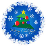Card - Christmas tree with colored baubles Royalty Free Stock Photography
