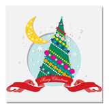 Card with Christmas tree and crescent moon Stock Image