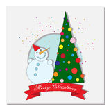 Card with Christmas tree and crescent moon Royalty Free Stock Images