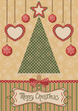Card with christmas tree and dotted background Royalty Free Stock Photos