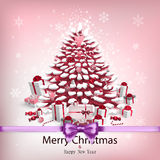 Card with christmas tree and garlands Stock Image