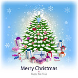 Card with christmas tree and garlands Royalty Free Stock Photo