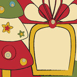 Card with Christmas tree and gift Royalty Free Stock Photography