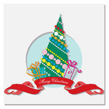 Card with Christmas tree and gifts Royalty Free Stock Image