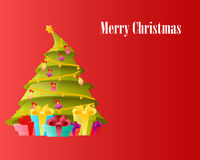 Card Christmas tree with gifts Royalty Free Stock Photography