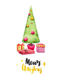 Card with Christmas tree and gifts, watercolor. Royalty Free Stock Photography