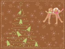 Card with a christmas tree and gingerbread people Royalty Free Stock Image