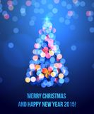 Card with Christmas tree lights Royalty Free Stock Photos