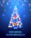 Card with Christmas tree lights stock illustration