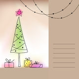 Card with Christmas tree and presents Stock Image