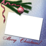 Card with christmas tree and red ball. 