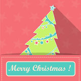 Card with christmas tree in Santa Claus` pocket and text `Merry Christmas!`. Flat style Royalty Free Stock Images