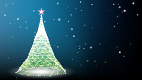 Card with christmas tree and snow Vector. Card with christmas tree and snow on blue background Vector Royalty Free Stock Image