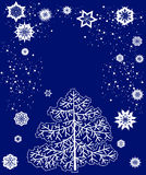 Card with Christmas tree and snowflakes Stock Photo