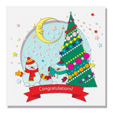 Card with Christmas tree. Snowman and a crescent moon in the stars Royalty Free Stock Photos