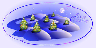 Card with Christmas trees. Christmas greeting Royalty Free Stock Image