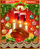Card for christmas turkey wine candles and Christmas balls Royalty Free Stock Image