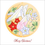 Card with Christmas Vitrail with Angel Stock Photo