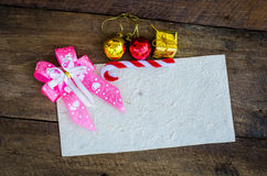 Card for Christmas on wood background Stock Photos