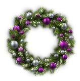 Card with Christmas wreath Stock Photo