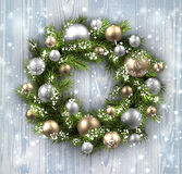 Card with Christmas wreath Stock Images