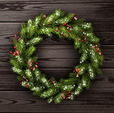 Card with Christmas wreath Royalty Free Stock Photography