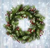 Card with Christmas wreath Stock Photos