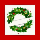 Card with christmas wreath for your design. This is file of EPS10 format Royalty Free Stock Photo