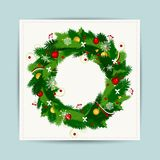 Card with christmas wreath for your design Royalty Free Stock Photo