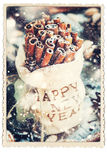 Card with Cinnamon in Bag. Embroidered Happy New Year Royalty Free Stock Image