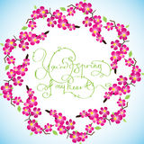 Card with circle sacura cherry and lettering Stock Images