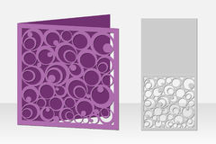 Card with circular pattern for laser cutting. Silhouette design. Royalty Free Stock Images