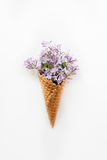 Card with Close up Bouquet of spring purple lilac flowers in the waffle cone on the white background. Top view. Flat lay. Space fo Stock Image