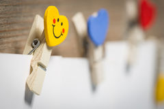 Card on clothespins hanging on the rope Royalty Free Stock Image